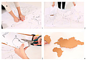 DIY pin board with world map made from cork