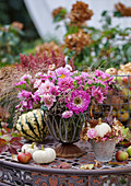 Autumn bouquet with chrysanthemums, zinnias, sea lavender, snapdragons, and witchgrass