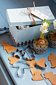 Gingerbread, cookie cutters, hyacinth, and a box