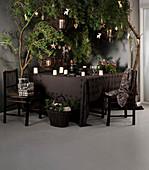 Geschirr und Kerzen auf brauner Tischdecke unter weihnachtlich dekoriert Ästen