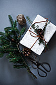 Christmas gift wrapping with pine branch and cones
