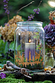 Mason jar as a lantern in the forest look