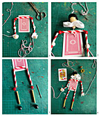 Making a puppet from playing cards and drinking straws