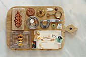Eclectic collection of desk accessories in copper and brass