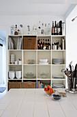 Crockery shelves in kitchen