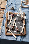 Chocolate spoons made as gifts