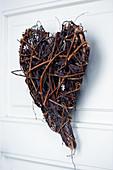 Wicker love-heart on door