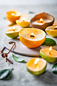 Zero-waste candle made from citrus peel