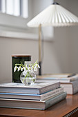 A small glass vase of snowdrops on a stack of coffee-table books