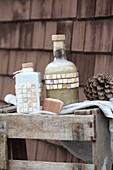 Homemade basic liquid shampoo in decorative bottles