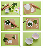 Making leaf bowls from modelling clay