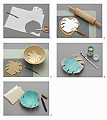 Making Swiss cheese plant leaf bowls out of clay