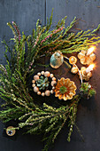 DIY Advent wreath with real succulents and branches