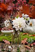 Posy of dahlias, privet and jasmine