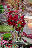 Autumn bouquet of snapdragons and chrysanthemums