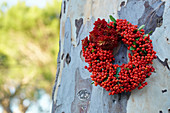 Wreath of berries and chrysanthemums hung on tree trunk