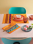 Orange placemats with trims