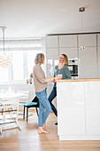 Two friends standing at the kitchen counter in the open-plan interior