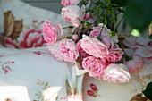 Climbing rose 'Jasmina' with rose-patterned pillows