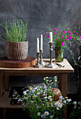 Bouquets of wild Carthusian pinks, grasses and annual fleabane, basket of thyme on wooden disc and silver candle holders
