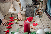 Making Christmas decorations from felt