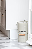 Kitchen with compost bin, House furnished in country style, Hamburg, Germany