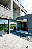 One-family house with roofed terrace, Neuenkirchen, North Rhine-Westphalia, Germany