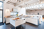 Open plan kitchen inside a Bauhaus villa, Sauerland, Germany