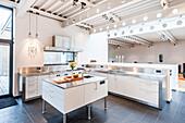 Open plan kitchen inside a Bauhaus villa, Sauerland, Germany