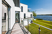 villa in a modern architecture style with water view, Brandenburg, Germany