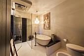bathroom of an apartment with modern design, Hamburg, North Germany, Germany