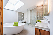 bathroom in a penthouse in a modern alpine style, Kitzbuehel, Tyrol, Austria, Europe