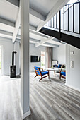 modern dining and living area in a house in Heiligenhafen, Schleswig-Holstein, Baltic Sea, North Germany, Germany, with property release