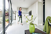 woman in a modern apartment,modern architecture in Hamburg,north Germany,Germany