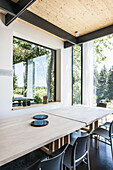 Modern architecture and living room with open kitchen, architecture house in Gaechingen, Baden-Wuerttemberg, south Germany, Germany