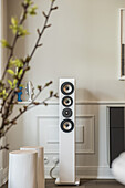 loudspeakers in a modern furnished Art Nouveau apartment in Hamburg, north Germany, Europe