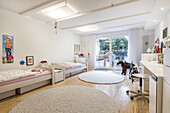 children's bedroom in a modern furnished Art Nouveau apartment in Hamburg, north Germany, Europe