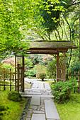 Pavillon im Japanischen Garten, Portland, Oregon, Vereinigte Staaten von Amerika