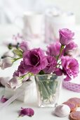 A bunch of lisianthus in a vase