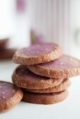A stack of round almond biscuits