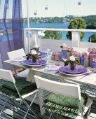 Laid table on balcony (summer)