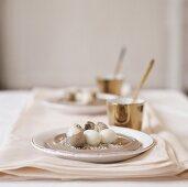 Quails' eggs on plates