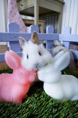 Live rabbit and Easter Bunny candles