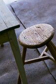 Old wooden table and stool
