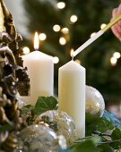 Lighting Christmas candles