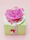 Rose candle on gift