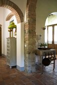 Foyer in a country home with brick arches