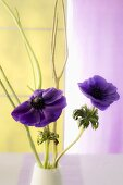 Purple flowers and flower sprig in a vase