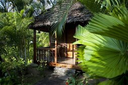 A view of a wooden house with thatched roof and a sunny terrace in the jungle