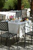 Breakfast on the garden terrace on a sunny day